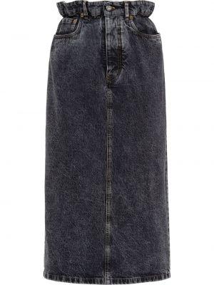 Czarny spódnica ołówkowa z kieszeniami z haftem Miu Miu
