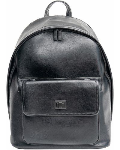 Czarny plecak na laptopa skórzany Beis