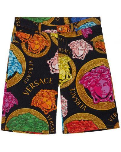 Czarne szorty bawełniane z printem Versace