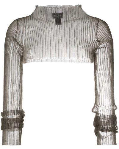 С рукавами коричневый джемпер с высоким воротником в рубчик Andrea Ya'aqov