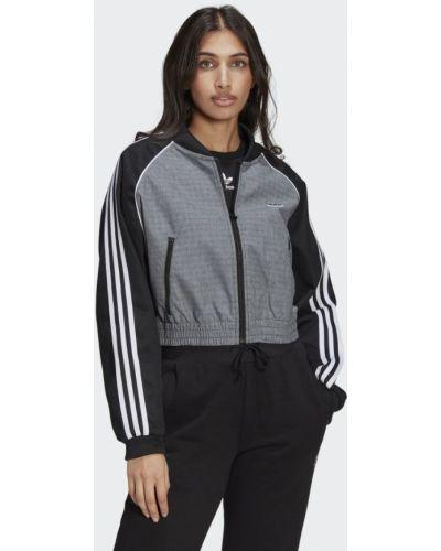 Черная олимпийка в полоску Adidas