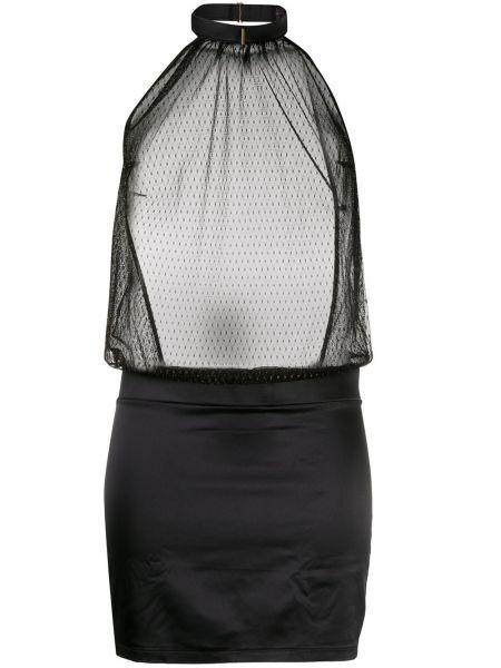 Приталенное платье со вставками сетчатое с вырезом Maison Close