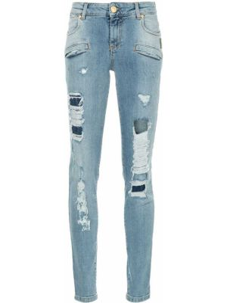 Синие джинсы-скинни с пайетками на пуговицах с поясом Pierre Balmain