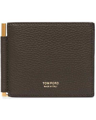 Зеленый кожаный кошелек Tom Ford