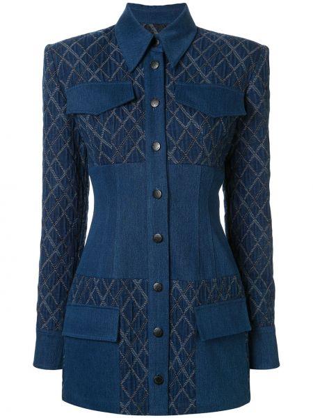 Приталенный синий пиджак с карманами Manning Cartell