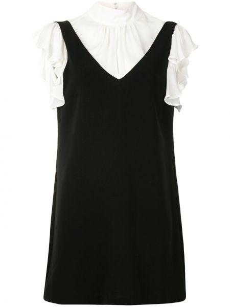 Черное прямое приталенное платье мини с короткими рукавами Cinq À Sept