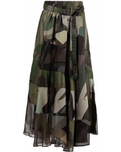 Зеленая юбка из полиэстера Sacai