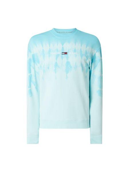 Bawełna niebieski bluzka z długim rękawem z haftem z dekoltem Tommy Jeans