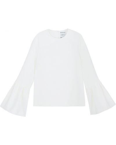 Деловая белая блузка с оборками Edit
