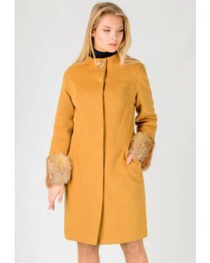 Желтое зимнее пальто с капюшоном Raslov