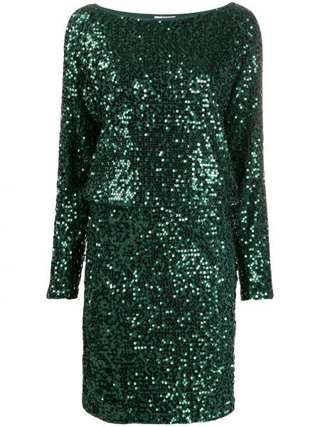 С рукавами зеленое платье макси с пайетками P.a.r.o.s.h.