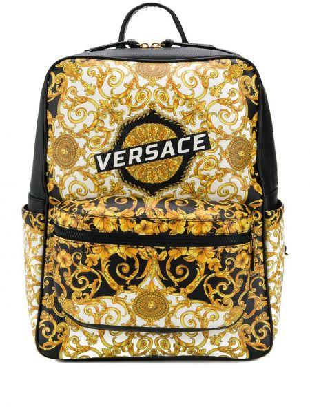 Plecak skórzany z nadrukiem Versace