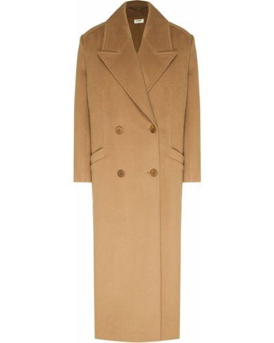 Кашемировое бежевое пальто на пуговицах Izeta