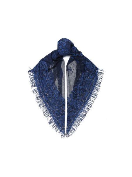Итальянская хлопковая синяя шаль Valentino