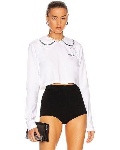 Белая трикотажная рубашка Miu Miu