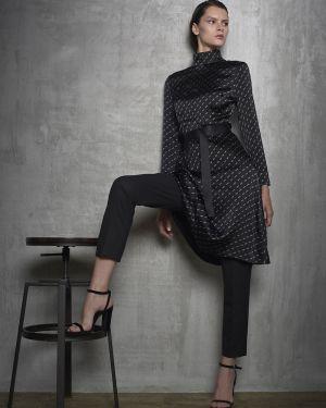 Платье мини с поясом из вискозы Vassa&co