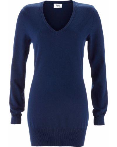 Темно-синий классический свитер с вырезом Bonprix