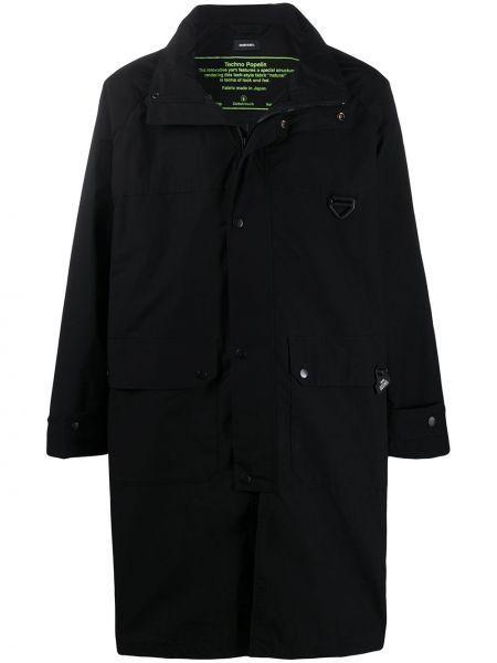 Czarny płaszcz przeciwdeszczowy z długimi rękawami z printem Diesel