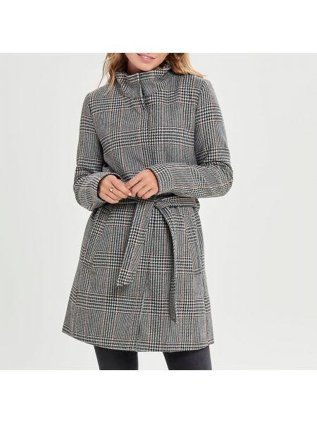 Пальто в клетку с воротником-стойкой Only