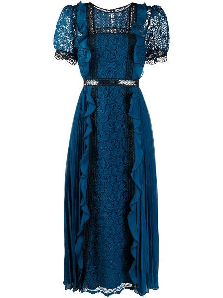 Платье миди на пуговицах со вставками прозрачное с вырезом Self-portrait