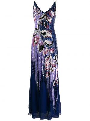 Расклешенное платье с пайетками с V-образным вырезом на молнии Emilio Pucci