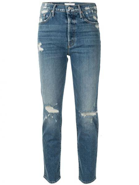 Облегающие синие укороченные джинсы на молнии Mother