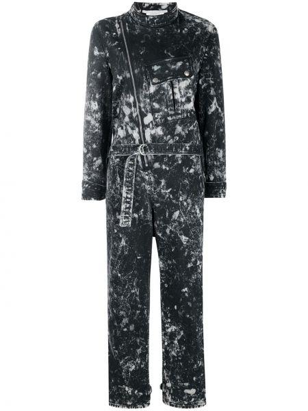 Хлопковый черный джинсовый комбинезон на молнии Stella Mccartney