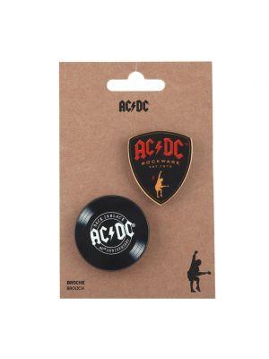 Czarna broszka Acdc