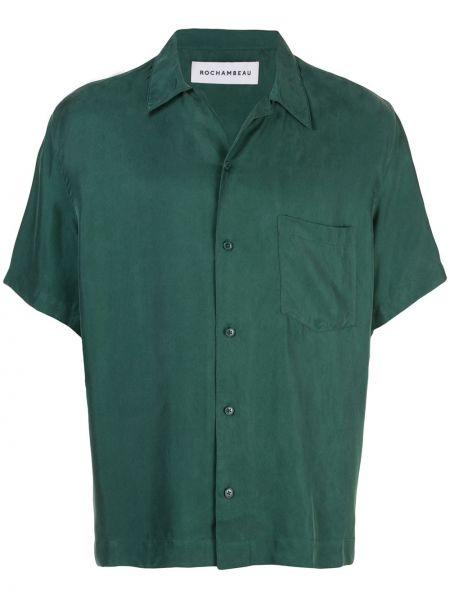 Zielona koszula krótki rękaw z wiskozy Rochambeau