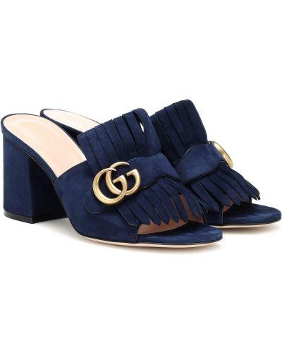 Klasyczne niebieskie sandały skorzane Gucci