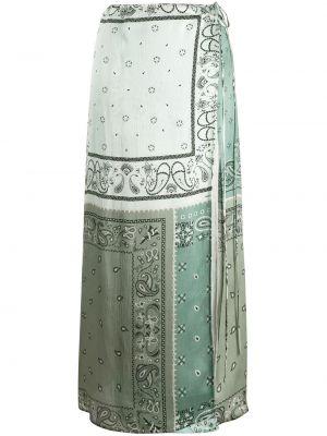 Ажурная прямая синяя с завышенной талией юбка макси Amiri