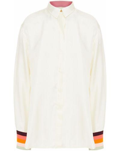 Бежевая шелковая рубашка в полоску Paul Smith