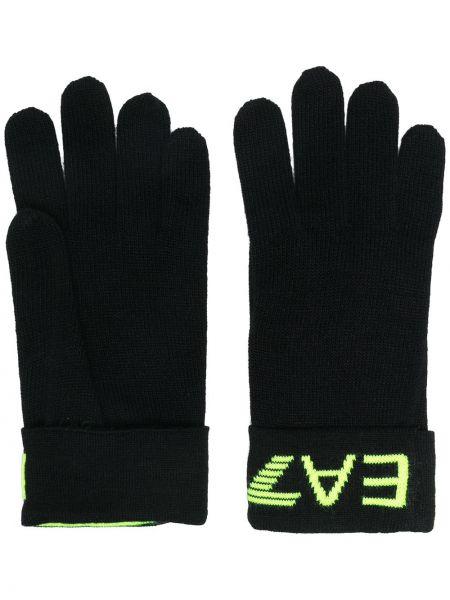 Czarne rękawiczki z akrylu Ea7 Emporio Armani