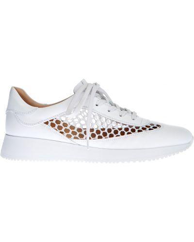 Ажурные белые кроссовки на платформе на шнуровке со вставками Gianvito Rossi