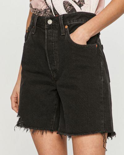 Czarne szorty jeansowe materiałowe na co dzień Levi's