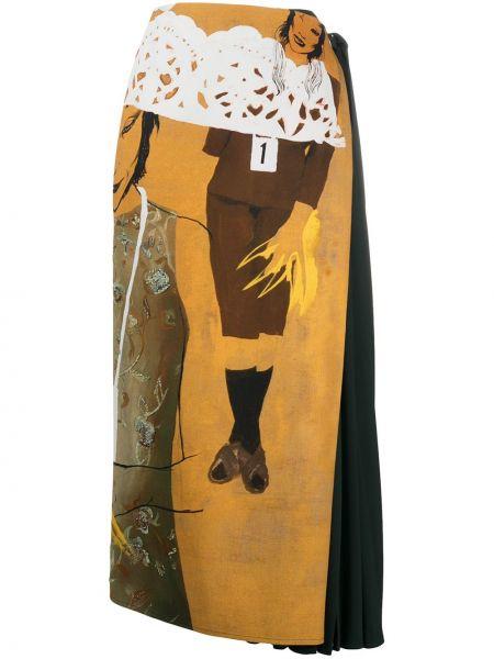 Шелковая юбка миди - желтая Chloé
