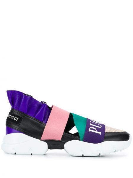 Skórzane sneakersy karmazynowy miejski Emilio Pucci