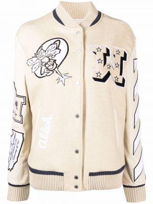 Кожаная куртка длинная - белая Off-white