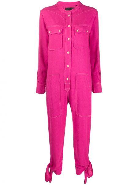 Шелковый розовый комбинезон с манжетами на каблуке Isabel Marant