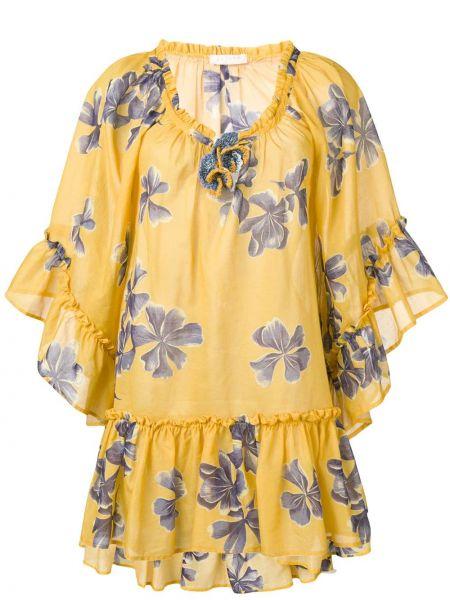 Платье с поясом с цветочным принтом желтый Anjuna