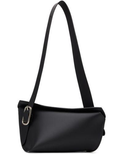 Черная кожаная сумка с пряжкой Venczel