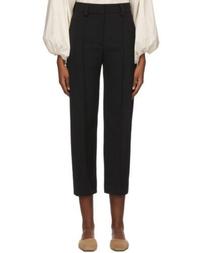 Шерстяные брючные черные брюки стрейч Studio Nicholson