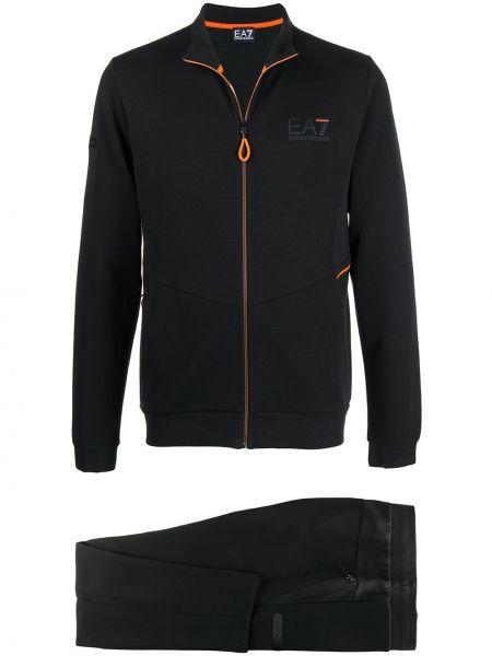 Czarny bawełna bawełna dres z kieszeniami Ea7 Emporio Armani