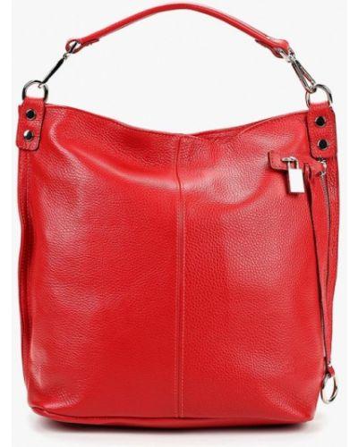 Кожаная сумка шоппер красная Roberto Buono