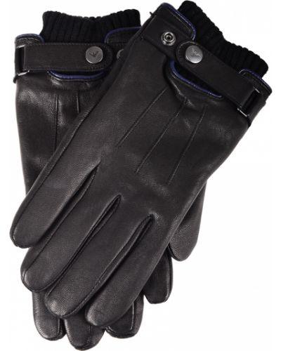 Кожаные перчатки черные Armani Jeans
