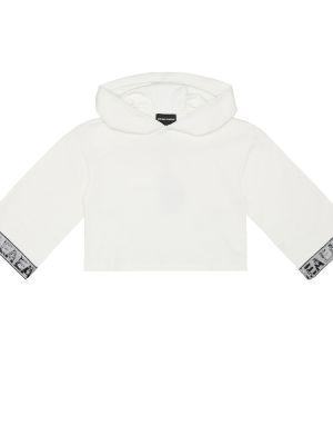 Bawełna bawełna biały bluza z kapturem Emporio Armani Kids