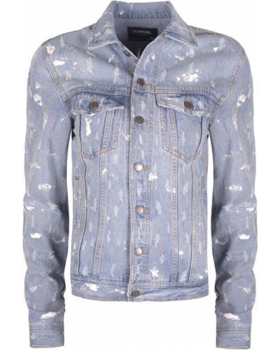 Niebieskie jeansy zapinane na guziki z printem Domrebel