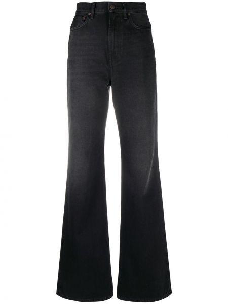 Z wysokim stanem bawełna czarny jeansy na wysokości z kieszeniami Acne Studios