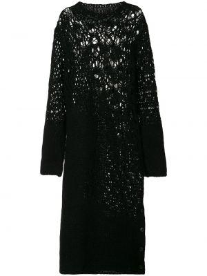 Шерстяное платье миди - черное Yohji Yamamoto