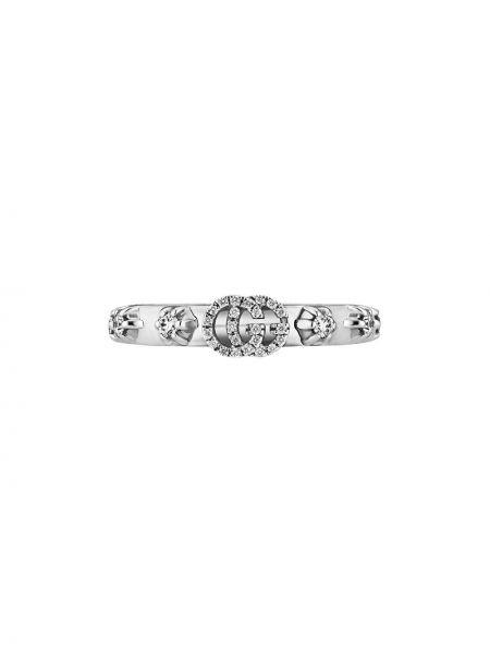 Pierścień ze srebra biały Gucci